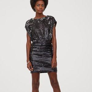 Gathered Sequin Dress
